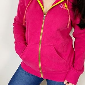 adidas women's pink neon yellow full zip pocket hoodie sweatshirt thumb holes XL